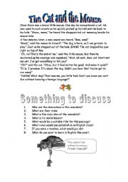 English Worksheets: The Cat and the Mouse - reading