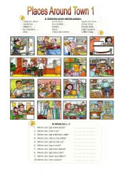 English Worksheets: Places Around Town 1