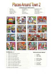 places around town 2 esl worksheet by miameto. Black Bedroom Furniture Sets. Home Design Ideas