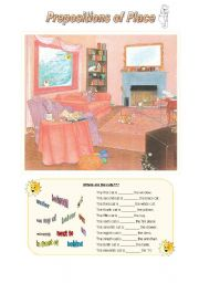 English Worksheets: Where are the cats?
