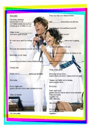 English Worksheet: High School Musical - Everyday
