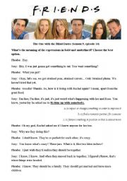 English Worksheet: Friends. The One with the Blind Dates. season 9 ep. 14