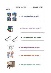 English Worksheets: How many .............. have you got ?