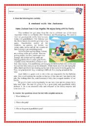 English Worksheets: A weekend with the Jacksons