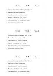 English worksheet: dreams - speaking