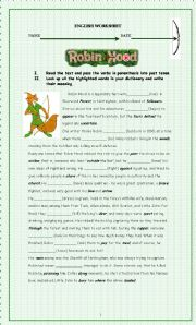 Robin Hood reading and  past tense verbs practice