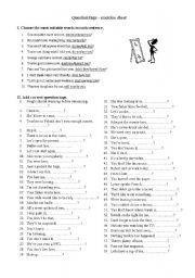 English Worksheets: Question Tags - exercises