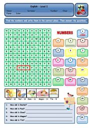 English Worksheets: NUMBERS AND AGE