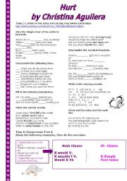 English Worksheet: Grammar Through Songs: Hurt + Conditional Type 2