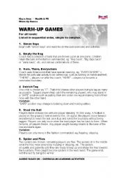 English Worksheet: Warm - up Games