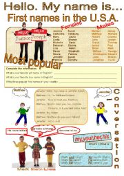 English Worksheet: Hello. My name is
