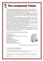 English Worksheet: Ten restaurant tricks (07.01.09)