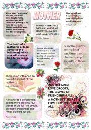 English Worksheet: MOTHER