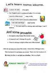 esl kids worksheets idioms and proverbs. Black Bedroom Furniture Sets. Home Design Ideas