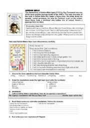 English Worksheet: Adrian Mole�s New Year�s Resolutions