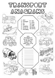 English Worksheets: Transport anagrams