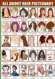 English Worksheet: ALL ABOUT HAIR PICTIONARY