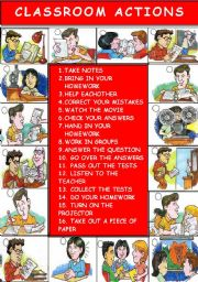 English Worksheets: CLASSROOM ACTIONS ( PART 2 )
