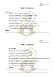 English Worksheets: Your Opinion!