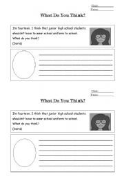 English Worksheets: What Do You Think?