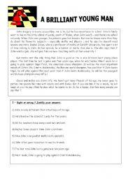 English Worksheets: A brilliant young man