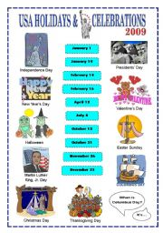English Worksheet: Holidays & Celebrations in the US (key included)