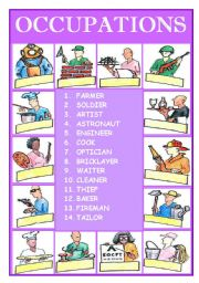English Worksheets: OCCUPATIONS ( PART 1 )