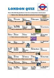 LONDON QUIZ (easy MULTIPLE CHOICE with answers) - ESL worksheet by