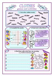 English Worksheet: Clothes:games and activities.