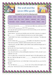 English Worksheets: The wolf and the seven little goats - Worksheet