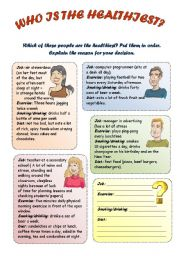 English Worksheets: Who is the healthiest?
