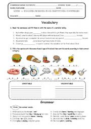 English worksheet: REVISION ABOUT LIKES & DISLIKES - FOOD - PARTITIVES - COUNTABLE vs UNCOUNTABLE NAMES