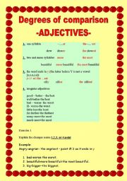 English Worksheet: Degrees of comparison -adjectives-