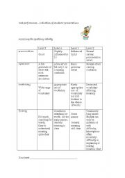 English Worksheets:  grid to evaluate oral work