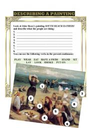 English Worksheets: DESCRIBING A PAINTING 1 (SLOANE)
