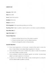 English Worksheet: direct indirect questions,subject object questions