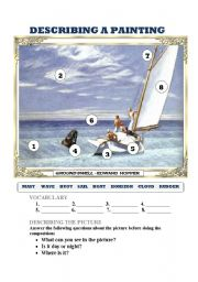English Worksheet: COMPOSITION: DESCRIBING A PAINTING 2 (HOPPER) 2 PAGES