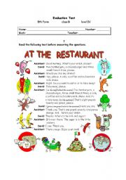 English Worksheet: AT THE RESTAURANT (2 OF 2)
