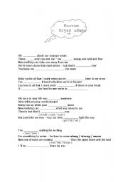 English Worksheets: Song: Heaven--Bryan Adams