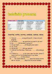 English Worksheet: Indefinite pronouns -Some/Any/No/Somebody/Anybody/Everywhere etc.