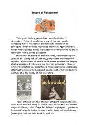 English Worksheets: Beware of Pickpockets!