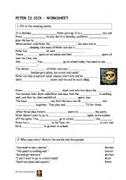English Worksheets: peter is sick