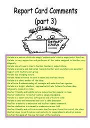 English Worksheets: Report card comments (Part 3)
