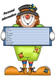 English Worksheets: PERSONAL INFORMATION CHART