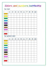 English Worksheets: Colors and numbers battleship