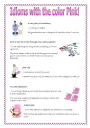 Idioms with the word pink