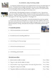 English Worksheet: A School Day in England