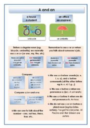 English Worksheet: A and an
