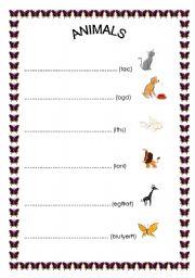 English Worksheets: animals ;)