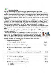 English Worksheets:  A Lazy Donkey